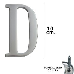 "Letra Metal ""D"" Plateada Mate 10 cm. con Tornilleria Oculta (Blister 1 Pieza)"