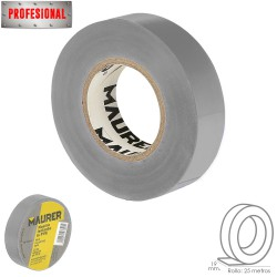 Cinta Aislante, PVC, Profesional, 25 metros x 19 mm. x 0,13 mm espesor. Color Gris