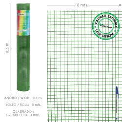 Malla Electrosoldada Plastificada Corral 13x13 / Altura 60 cm. / Rollo 10 metros