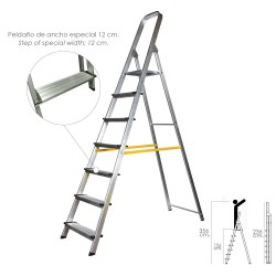 Escalera Doméstica Aluminio Profesional 7 Peldaños 12 cm Grosor.